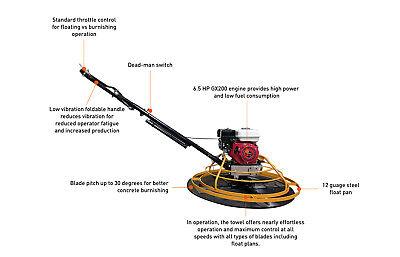 Hoc S100 - 36 Inch Power Trowel Gx200 6.5 Hp Float Pan Blades 2 Yr Warranty