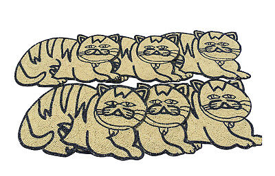 Beaded Tablemats Handmade Cream Cute Cat shape for Dining Table set of 6