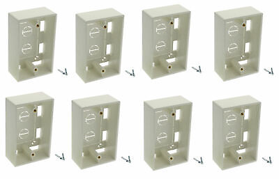 8 Pack x Single 1-Gang Surface Mount Junction Mounting Box Wire Cable Wall Plate