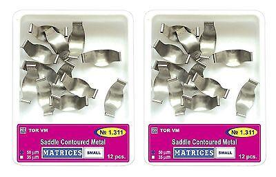 Lot X 2 Dental Small Saddle Contoured Metal Matrices Matrix 12 Pcs. Tor Vm