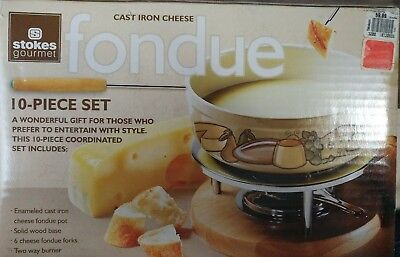 STOKES GOURMET Swiss CHEESE FONDUE 10 PIECES SET  CAST IRON ENAMEL w RECIPE BOOK