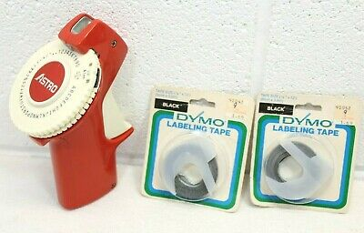 Vintage Astro Label Maker Red Works Great Compact W 2 New Black Dymo Tapes