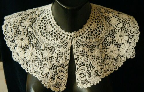 Old Edwardian time large Bertha collar schiffli lace with 3d florals design