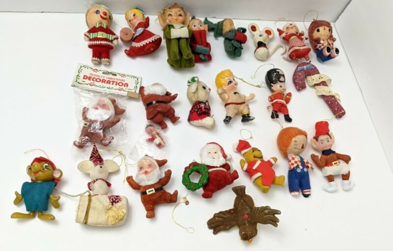 Vintage Lot of ELF KNEE HUGGER Elves Pixie  Felt Christmas Ornaments and others
