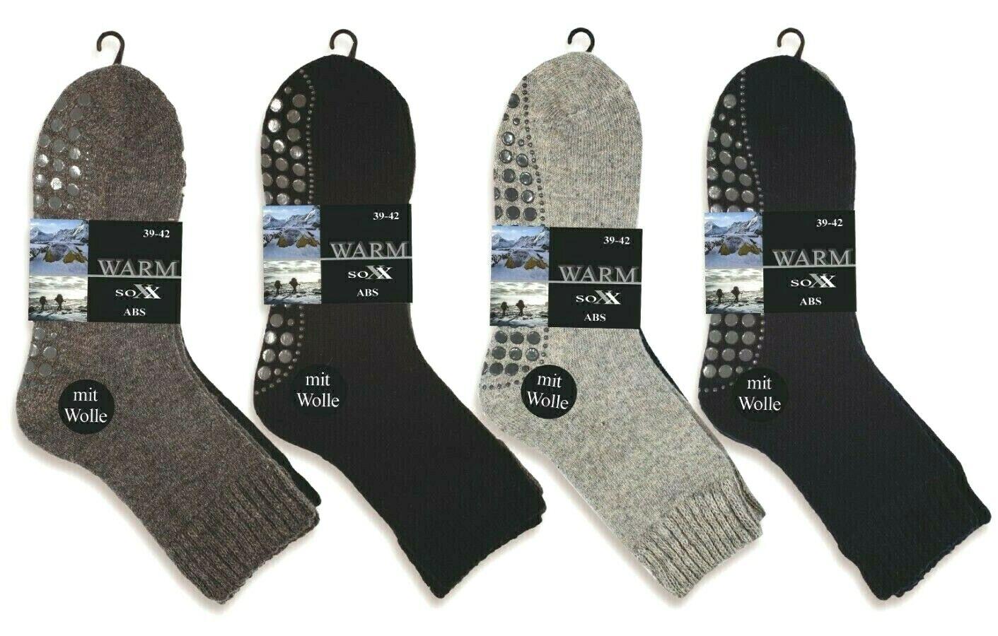 Herren Socken Wollsocken ABS Antirutsch Socken mit Wolle Gr 39-46 NEU