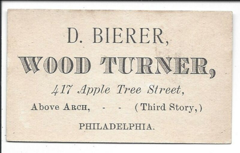 Occupations: c1870s Business Card of a Wood Turner, Philadelphia