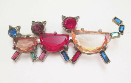 VINTAGE ART DECO CZECH 3 CATS PIN BROOCH OPEN BACK GLASS RHINESTONES MULTI COLOR