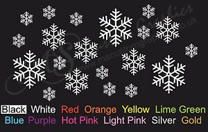 20-x-SNOWFLAKES-Sticker-Pack-A4-Sheet-Car-Decal-Windows-Christmas