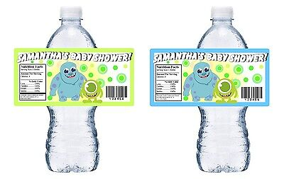 SHOWER PARTY FAVORS WATER BOTTLE LABELS WRAPPERS (Baby-monsters Inc)