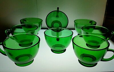 VINTAGE Set of 8 Anchor Hocking Forest Green Glass Punch / Tea Cups