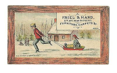 Old Trade Card Friel & Hand Furniture Carpets New York Man Pulling Child On Sled (Hands On Trade)