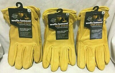 Lot Of 3 Wells Lamont Leather Work Gloves Large Mens - 3 Pack