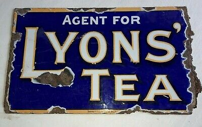 VINTAGE LYONS TEA SMALL ENAMEL SIGN DOUBLE SIDED