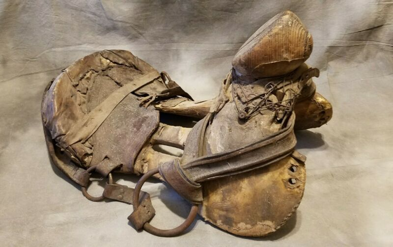 OLD Primitive Saddle Tree Western Horse Leather Wood Metal Hide Tack Country