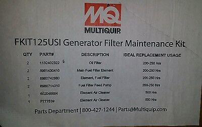 Mq Multiquip Fkit125usi Generator Maintenance Kit Dca 125usi 4hk1 6hk1