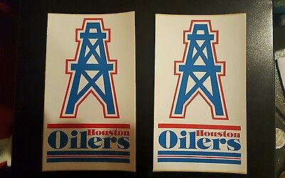 "(2) Houston Oilers vintage TEAM ISSUED STICKER  STICKERS 4.5"" x 2.5"""