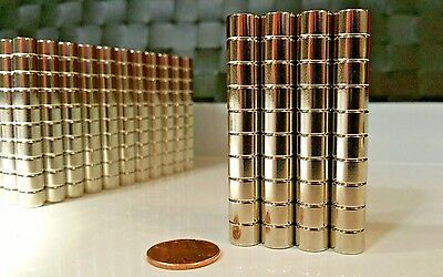 10 Large Neodymium Cylinder Disc Magnets. Super strong N52 Rare Earth 3/8 × 1/4