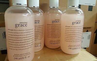 NEW AMAZING GRACE PHILOSOPHY SHAMPOO SHOWER GEL BUBBLE BATH 32 OZ 8 X 4