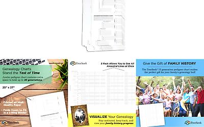 TreeSeek 15 Generation Pedigree Chart 5 Pack Blank Genealogy Forms For Fa... - $21.40