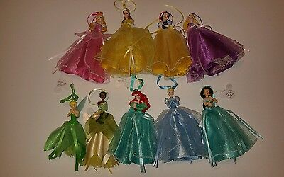 Disney Princess Figure Dress Ornaments Set Of 9 Tinker Bell Jasmine Ariel Aurora