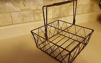 VINTAGE LARGE METAL WIRE MILK Man's Carrier BASKET 4 SECTIONS Heavy Rustic