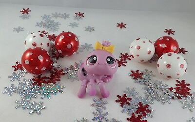 Littlest Pet Shop Blush Pink Halloween Spider w/Bat Accents #430 Yellow Bow - Pet Shop Halloween