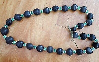 Hawaiian Wedding Grad Black Kukui Nut w/Clear and Green Beads Lei Necklace