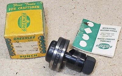 Greenlee No. 733 - 1 Diameter D-shape Punch And Die Set - Radio Chassis Punch
