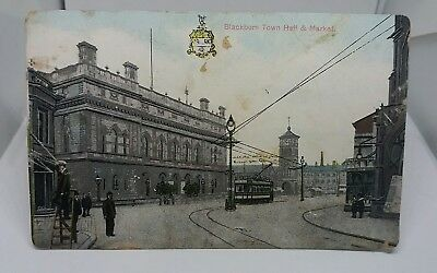 VINTAGE USED POSTCARD BLACKBURN TOWN HALL AND MARKET WITH  TRAM CIRCA 1906