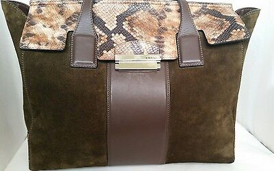 """NWT """"INNUE"""" Suede and Leather Large Satchel Handbag(Made in Italy)"""
