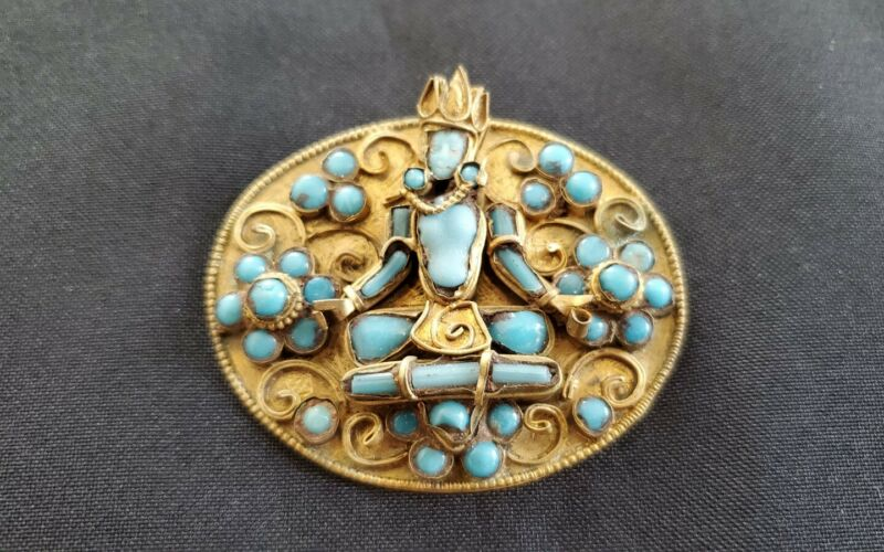 Antique brass carved turquoise brooch