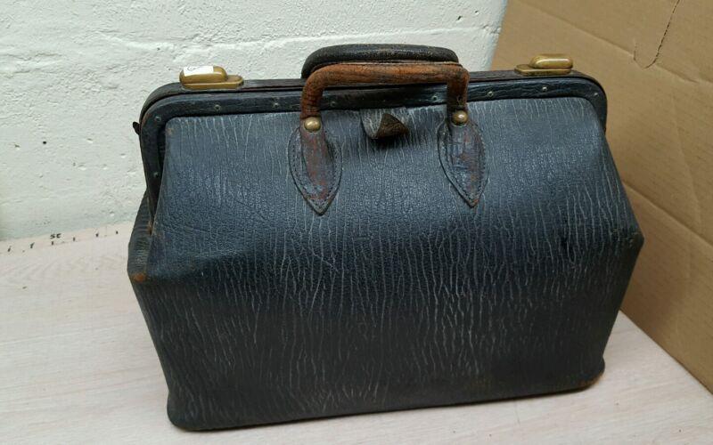 Antique Vintage Black Leather Doctors Bag / Carry on Travel Bag