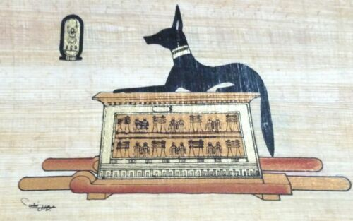 Orginal Egyptian Papyrus, Anubis Proctor of Tombs, Handmade painting 12 x 16 Cm