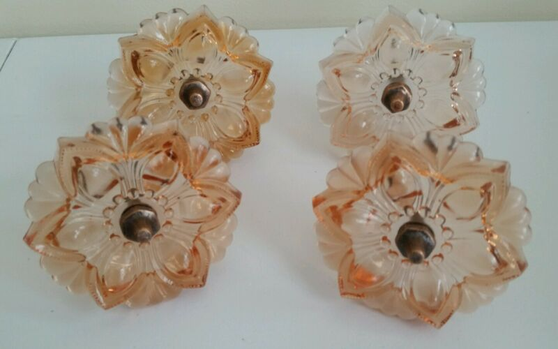 4  Beautiful Pink Glass flower curtain tiebacks Victorian style   (BR549)