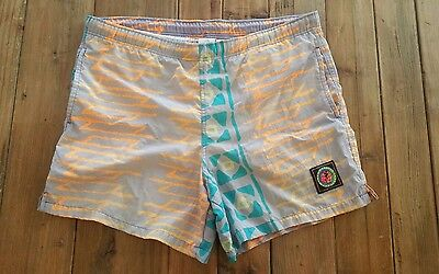 VTG Ocean Pacific swim shorts trunks mens medium surf skate 80s 90s neon