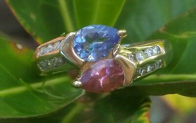 Vintage 14k Yellow Gold Pink Sapphire Tanzanite Diamond Ring Estate Jewerly 3.2g