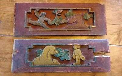Antique Chinese Furniture Architectural Hand Carved Wood Panel SET of 2