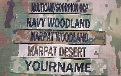 Custom Name Tapes Sew On Fabric Multicam Scorpion OCP ACU Woodland BDU
