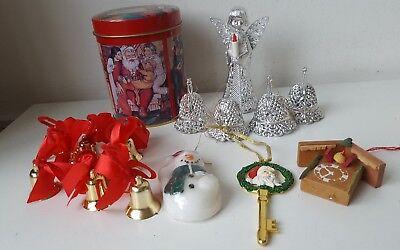 vintage kitsch Christmas decorations bundle tin, gold & silver bells Santa Angel