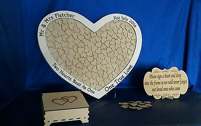 Personalised large wedding drop box heart shape guest book