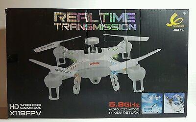 """Real Time Transmission Quadcopter Camera Drone X118FPV 5.8GHz 5"""" LCD"""