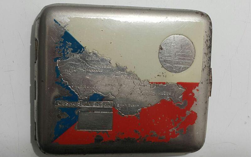 VINTAGE CIGARETTE CASE BOX CZECHOSLOVAKIA CZECH TABACO METAL FABRIC