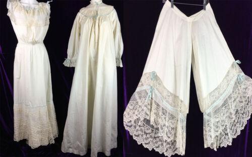 RARE C 1900 4 Pc Set Edwardian Trousseau Corset Cover Gown Skirt Bloomers Ribbon