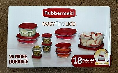 Rubbermaid Easy Find Lids Food Storage Container, 18 Pcs Set, Red (1924197) NEW
