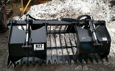 75 Skidsteer Rock Double Grapple Skid Steer Bucket W Hoses Couplers