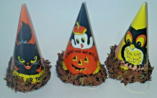 Vintage Halloween Paper Party Hats 3