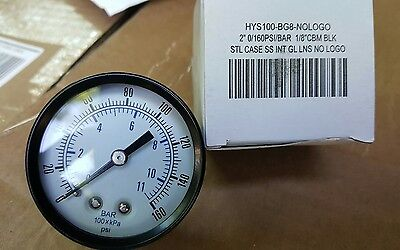 Air Compressor Pressurehydraulic Gauge 2 Face Back Mnt Ss 18 Npt 0-160 Psi
