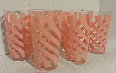 VINTAGE HAZEL ATLAS PINK CRINOLINE DRINKING GLASSES TUMBLERS SWIRL STRIPED MINT