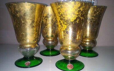 Service of 4 Glasses for Board Glass / Gold/Green, Made in Italy Dn Vintage
