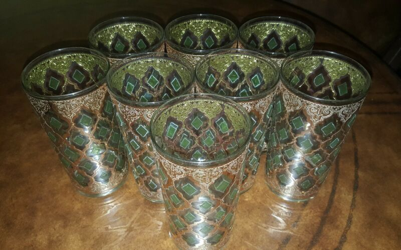 Culver Mid Century Vintage Highball Glasses Set of 8